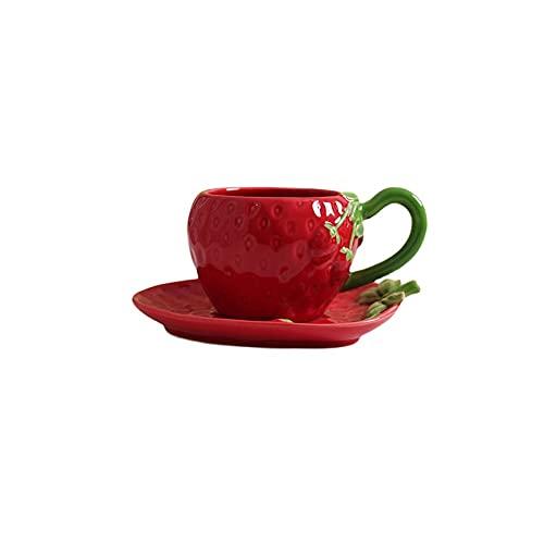 SXXYTCWL Taza de café Taza de té Linda Taza de café Espresso Taza de café Tridimensional Taza de café Taza de té Rojo Taza de Desayuno Cerámica Tazas de café y Juego de platillos