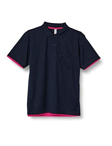 [グリマー] 半袖 4.4オンス ドライ レイヤード ポロシャツ [ポケット付] 00339-AYP ネイビー×ホットピンク L (日本サイズL相当)