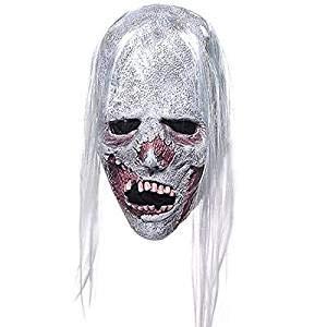 MZQ Latex Horror Espeluznante Máscara De Pelo Blanco Scary Halloween Party Props