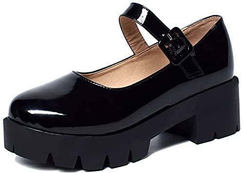 Caradise Womens Chunky Mary Jane Platform Shoes Patent Leather School Uniform Dress Shoes Size 10.5 B(M) US,Black