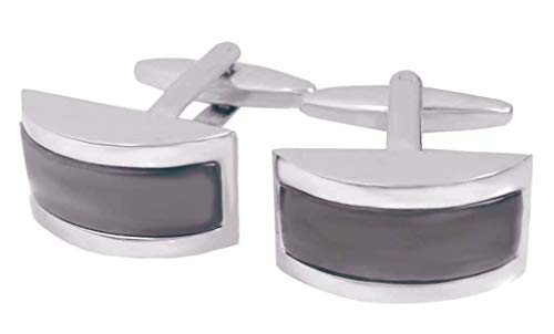 magdalena r. Katzenauge Manschettenknöpfe cateye grau silbern halbrund + Geschenkbox