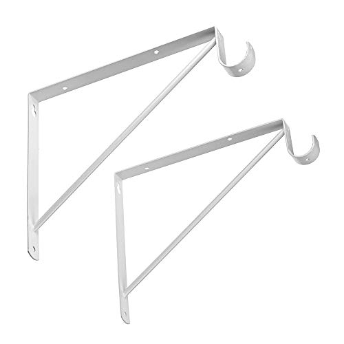Dewell 2 Pcs Shelf and Rod Brackets, Wall Mounted Shelf Supports White,SRB300