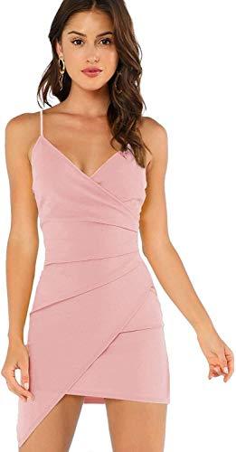 Donna Senza Maniche Abiti E I Wrap Spalline Vestito da Estate del Vestito da Partito Asimmetrico Abiti di Moda Le Ragazze d'Epoca (Color : Pink, One Size : M)