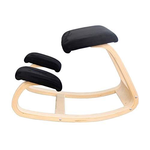 QXF-D DZ- Ergonomischer Kniestuhl Schaukel Posture Hocker Aus Holz for Office Home, Nackenschmerzen Spine Tension Relief Kneel Sitz Mit Orthopädischen Kniepolster (Color : Schwarz)