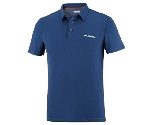 Columbia Polo à Manches Courtes Homme, TRIPLE CANYON TECH POLO, Polyester, Bleu Marine (Carbon), Taille: XL, AO1287