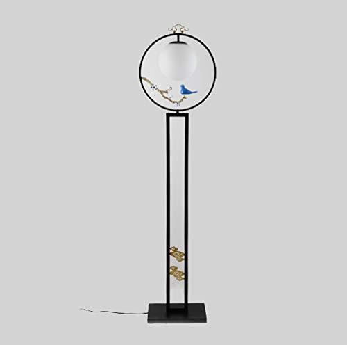 lampadaire Lampadaire, Lampadaire Vertical, Lampadaire En Fer Forgé, Abat-jour En Verre Blanc Lait, Vis E27, Salon Canapé