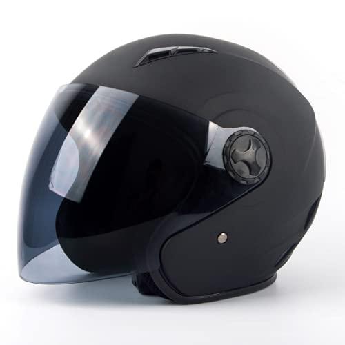 FENGCHENG Casque Moto Jet en Noir Mat pour Scooter Chopper - Toutes Les Saisons | US Dot Homologué Casque Moto Jet Visor pour Homme et Femme (Noir Mat,S)