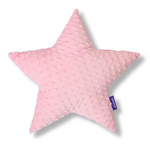 JUKKI® Baby, Kinder Kopfkissen Daunen Kissen Stern 40x40cm mehrfarbig zu 100% aus Minky Material und von Hand genäht für Mädchen und Junge, antiallergisch (Minky Puderrosa)