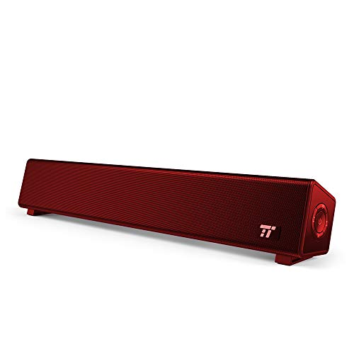TaoTronics Bluetooth 4.2 Computer Speaker, Wired/Wireless Computer Sound Bar, Mini Soundbar Speaker(Red)