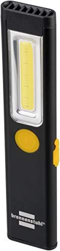 Brennenstuhl 1175590 Akku Handleuchte PL 200 A Taschenlampe LED (200lm, inklusive USB-Ladekabel, bis zu 12h Leuchtdauer, Inspektionsleuchte COB mit Magnet und Clip), Schwarz