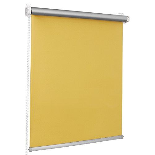 ROLLMAXXX Thermo Verdunkelungsrollo Klemmfix ohne Bohren (130 x 150 cm, Gelb)