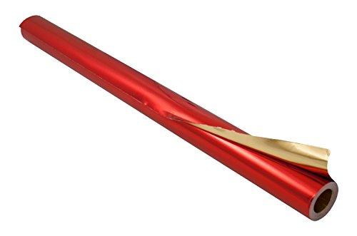 folia R 12 - Alufolie auf Rolle, doppelseitig kaschiert, ca. 50 cm x 10 m, rot / gold - ideal zum Basteln und Verpacken