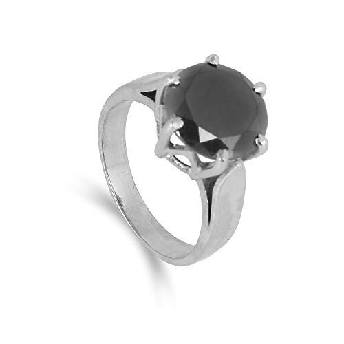 GEMHUB Anillo de plata de ley 925 de 4,00 quilates, diseño de moissanita negro, regalo para ella