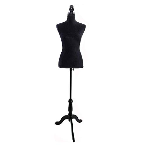 Female Dress Form Pinnable Mannequin Body Torso with Wooden Tripod Base Stand(Black)