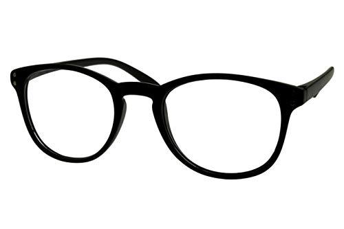 Lesebrillen Damen Herren schwarz matt große runde Gläser sehr leicht runde ovale Form schmale Bügel Lesehilfe Sehhilfe 1.0 1.5 2.0 2.5 3.0 3.5, Dioptrien:Dioptrien 2.5
