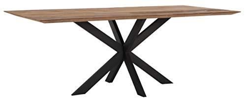 24Designs Curves Tafel - L210 X B100 X H78 - Tafelblad Recycled Teakhout - Zwart Onderstel