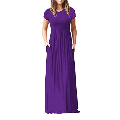 FAMILIZO -Vestidos De Fiesta Mujer Largos Elegantes Vestidos Largos De Fiesta Mujer Tallas Grandes Vestidos Mujer Verano Largo Casual Vestidos Manga Corta Mujer Fiesta (M, Morado)
