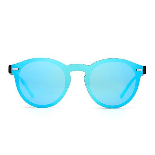 JIM HALO Gafas de Sol Redondas Polarizadas para Mujer Hombre Gafas Moda Sin Montura UV400 (Azul/Negro)