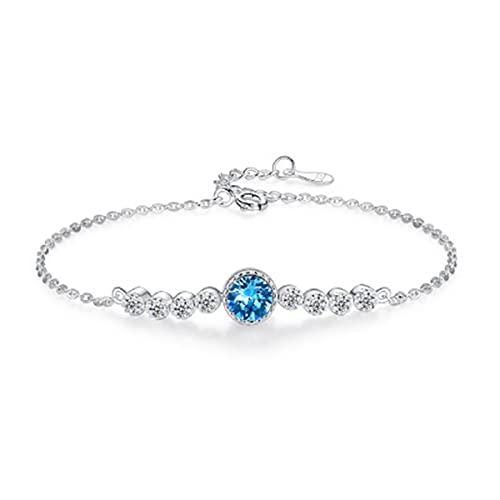 GvvcH Pulsera de plata 925 para mujer en hermosa caja de regalo pulsera de cadena tamaño 16+3 cm, azul