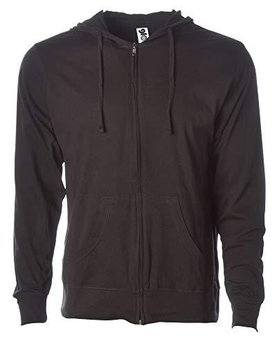 Global Men's Lightweight T-Shirt Jersey Full Zip Up Hoodie Sweatshirt XXL Black