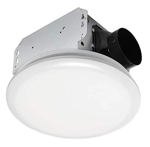 Homewerks 7141-50 Bathroom Fan Integrated LED Light Ceiling Mount Exhaust Ventilation, 0.7 Sones, 50 CFM, White