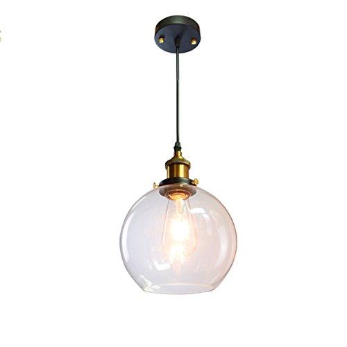 Suspension vintage antique en forme de boule avec cloche en verre transparent