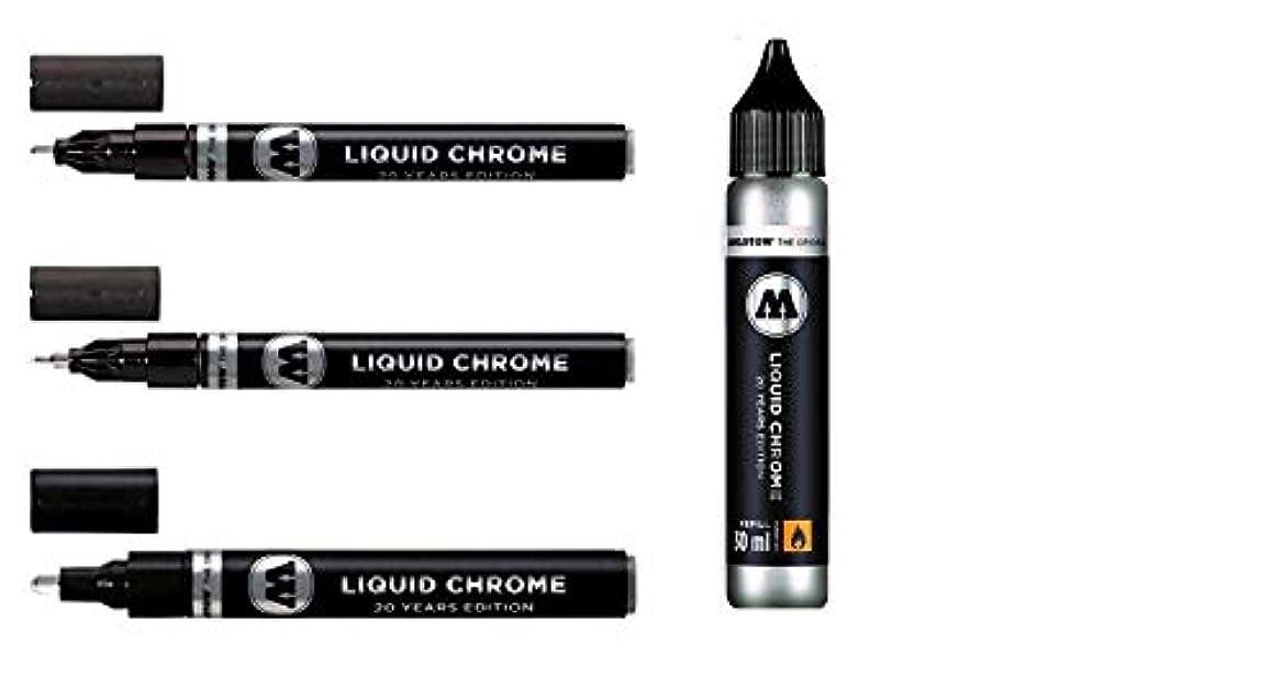 悪行確認受信Molotow Liquid Chrome Pack - 3x markers plus a 30ml refill