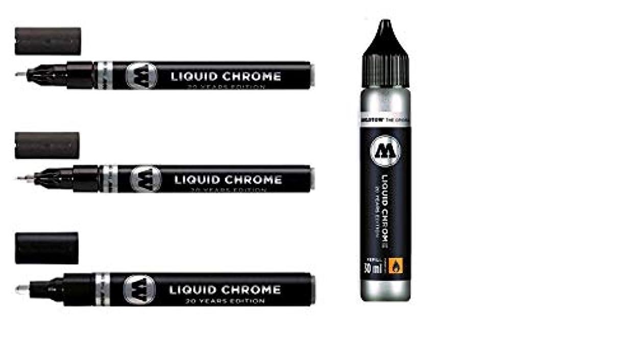 レビュー電信光Molotow Liquid Chrome Pack - 3x markers plus a 30ml refill