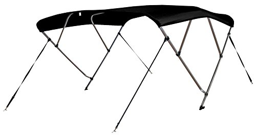 """Leader Accessories Black 4 Bow 8'L x 54"""" H x 79""""-84"""" W Bimini Top Cover 4 Straps for Front and Rear Includes Mounting Hardwares with 1 Inch Aluminum Frame"""