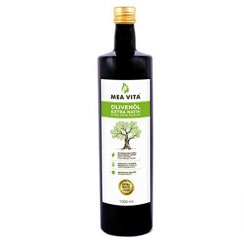 MeaVita Olivenöl, extra nativ & kaltgepresst, (1x 1000ml) fruchtiges Olivenöl in Glasflasche