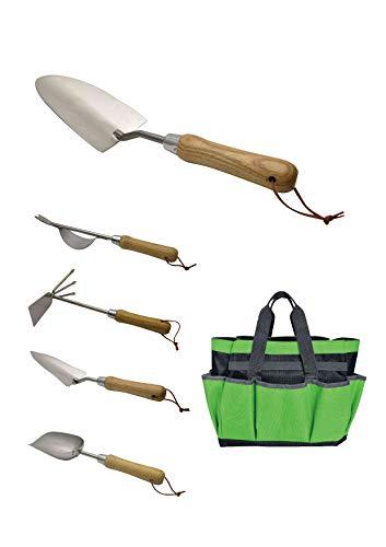 JARDTEC Gartengeräte Set 6 teilig Gartenwerkzeug Tasche, Gartengeräte Edelstahl Gartengerätetasche mit Kleinen Taschen, Verschleißfest und Wiederverwendbar