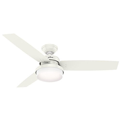 Hunter Indoor Ceiling Fan with LED Light and remote control - Sentinel 52 inch, White, 59169