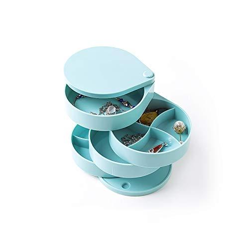 FKDG 4 Capas Joyero,360° Portátil Organizador De Ewelry,Redonda Giratorio CAS De Joyería,Anillos Pendientes Collares Pulsera Joyería para Las Mujeres Niña-Azul 12.5 * 11.5cm