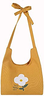 ZJSWIN Bag Female Spring and Summer New Small Fresh Art Small Flowers Canvas Bag Wild Shoulder Bag Shoulder Bag (Color : Yellow)