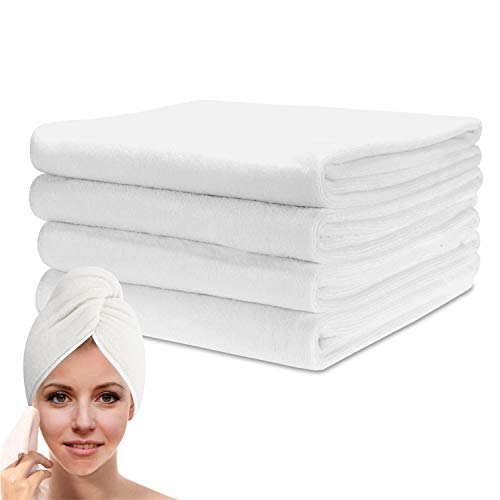 Bekith 4 Pack Microfiber Hair Towel, 20 inch x 40 inch Super Absorbent & Fast Drying Microfiber Towel for Drying Curly, Long & Thick Hair, White