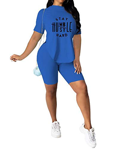 Two Piece Outfits for Women Shorts Set Letter Print Round Neck Short Sleeve Tops+Bodycon Shorts Summer Tracksuit Sets (L,Blue)