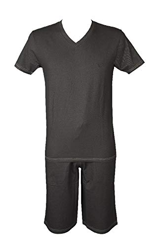 Emporio Armani Pyjama Mann Herren Baumwolle Kurzarm Bermuda Artikel 111486 + 111485 5A566, 06844 Asfalto - Asphalt Grey, M