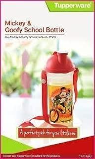 Tupperware School Bottle Mickey & Goofy 400 Ml Water Bottle For Kids