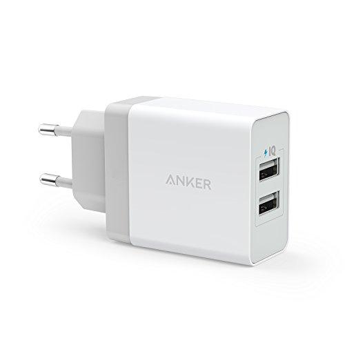 Anker AK-A2021321 - Cargador de pared con entrada USB (2 x USB, 24 W, 2.4 A), para iPhone, iPad, Samsung Galaxy, Note, Nexus, HTC, blanco