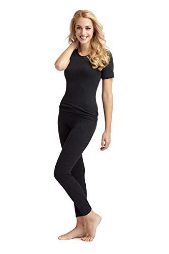 con-ta Thermo shirt met korte mouwen, T-shirt met natuurlijk katoen, warm ondergoed voor dames, ronde hals, dameskleding, in verschillende Kleuren, maten: 36-51