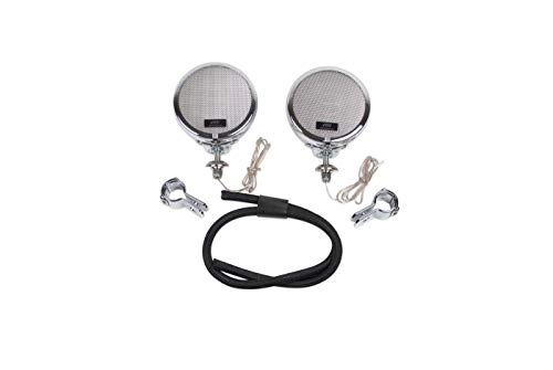 """The Original Rumble Road LIMITED Non-Amplified Speaker Kit for Motorcycles (Chrome with Matching 1-1/2"""" Clamps)"""