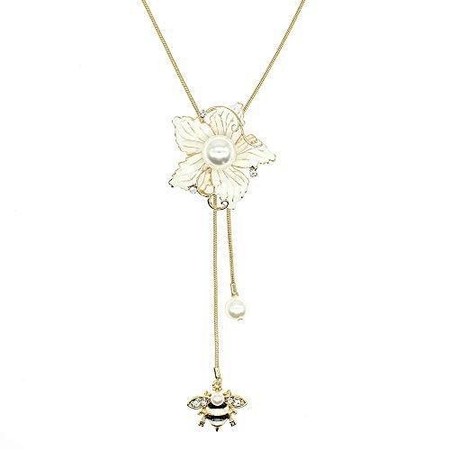 Collana lunga con ciondolo a forma di fiore di Bauhinia, con perle di cristallo bianco, gioiello alla moda per donne e ragazze e Lega, colore: Collana con fiore bianco., cod. N1059