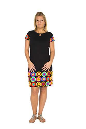 Vrolijke en aparte hippie chic damesjurk met speelse kleuraccenten in patchwork design uit bio-katoen