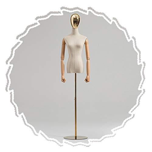 RZEMIN ZEMIN Maniquí de Costura, Soporte Maniquí Sastre Medio Cuerpo, Modelo Altura Ajustable con Forma Vestido Femenino con Brazos para Tienda Ropa (Color : B, Size : Small)