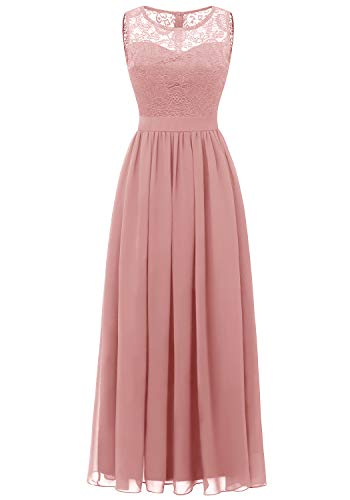 Dressystar 0046 Abendkleid Basic Chiffon Spitzen Ärmellos Brautjungfernkleider Bodenlang Blush XL