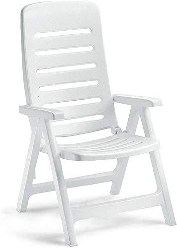 Ideapiu - Sillón de resina blanca, plegable de exterior, sillón de plástico ajustable, sillón con reposabrazos QuintILLA