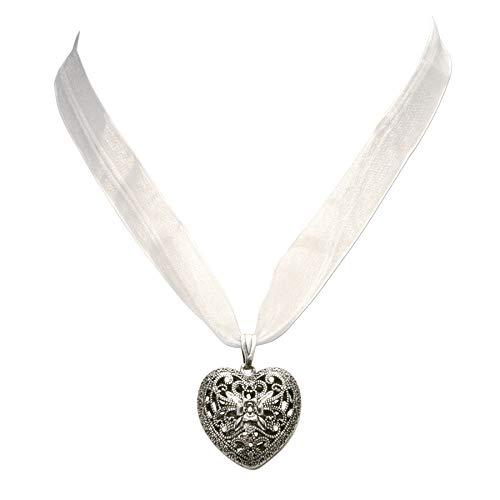 Trachtenkette Organzaband mit Trachtenherz - Damen Dirndlkette, Herz Organzakette für Trachtenbluse und Lederhose, Dirndl-Schmuck fürs Oktoberfest (weiß)