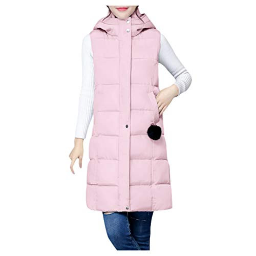 HFStorry Women's Fall/Winter Mid-Length Down Cotton Waistcoat with Hooded Solid Color Thinner Wild Cotton Horse Jacket Pink