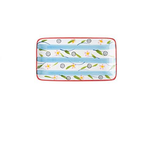 DHCZZRS774 Platos de Comida Placa Pintada a Mano de la Cena de cerámica, Plato de Desayuno, Placa Rectangular, Placa Plana, no desvanecimiento 22.5 * 13.2cm Platos de Cena pequeños (Color : A)
