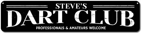 Türschild aus Metall, personalisierbar, Motiv: Dart Club Name Man Cave
